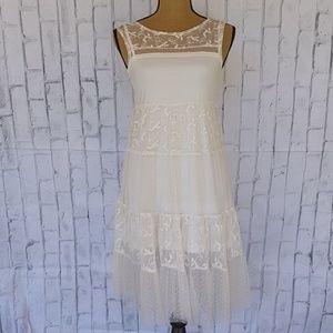 Zara Trafaluc Embroidered Lace Dress Sz S